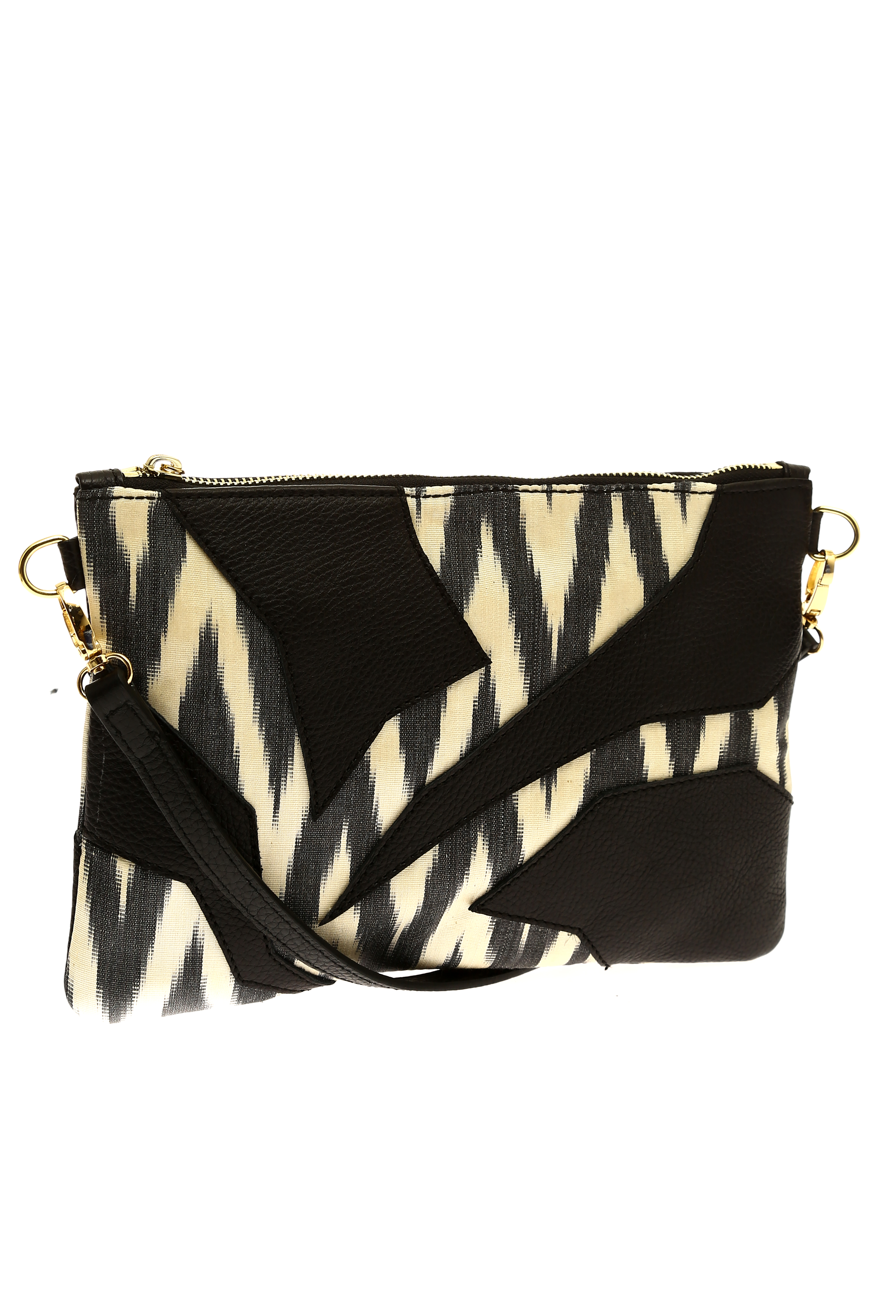 Crossover Ikat Bag With Leather Bohcha
